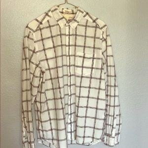 H&M Men's Black & White Checker Button Front Shirt
